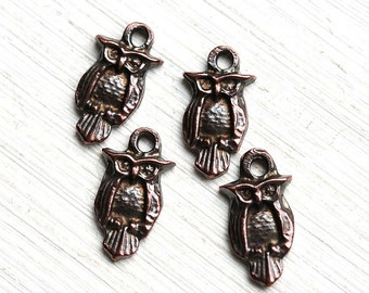Copper Owl metal charm Antique Copper charm Small Owl greek beads, woodland Lead Free, 4Pc - F269