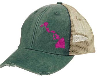 Hawaii Hat - Distressed Snapback Trucker Hat -  off-center state pride hat - Pick your colors
