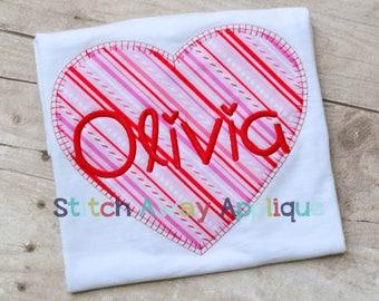 Vintage Stitch Heart Valentine's Machine Applique Design