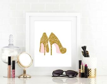 Glitter Shoes Print - Modern Bathroom Art - Bedroom Decor - Faux Glitter Shoes - Dorm Decor - Office Decor - Dorm Room - Gold Shoes
