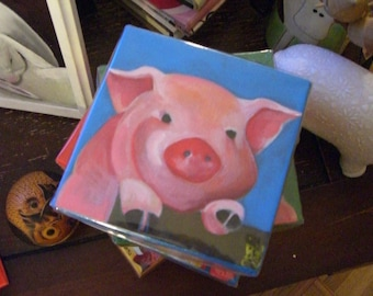 Cute Pink PiG Illustration - Pig Art Painting - Original 8 by 8 Inch on Canvas - PiGGY Fence - Cute Farm Animal Art - Year of the PiG