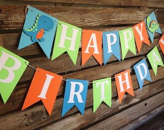Happy Birthday Dinosaur Party Banner - Photo Prop, Birthday Party, First Birthday, Dinosaur Banner
