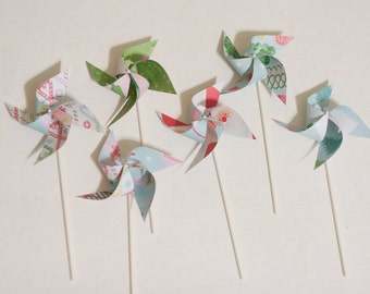 Christmas Stocking Stuffer Holiday Party favor Pinwheels  -12 Mini Pinwheels (Custom orders welcomed)