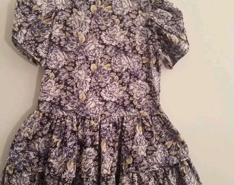 Vintage Little Girl's Size 7-8 Blue Floral Print, Laura Ashley Mother & Child Ruffled Dress Mint Condition!
