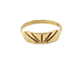 H A N D M A D E / stretched hexagon sun stacker / 14k geometric stacking ring