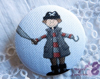 Fabric buttons,  pirate, 0.94 in / 24 mm
