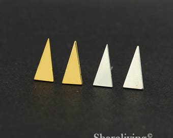 4pcs (2 Pairs) Silver, Golden Triangle Stud Earring, Nickel Free, High Quality Brass Earring Post - ED413