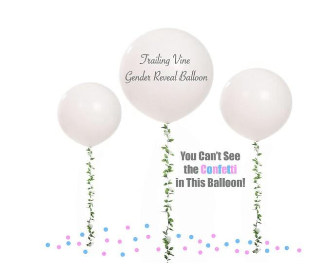 Trailing Vine Gender Reveal Balloon, pick color Gender Reveal Balloon with Tassel, Gender Reveal Balloon Vine Tassel, Balloon Flower Garland