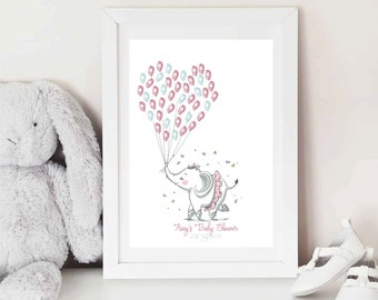 Ballerina Elephant Fingerprint Keepsake - TWO Colour ink pads - BABY shower- Christening - First BIRTHDAY - Guest book alternative