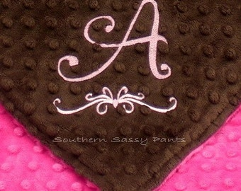 Personalized Baby Blanket , Embroidered Minky Baby Blanket ,  Custom Stroller Blanket , 30x40