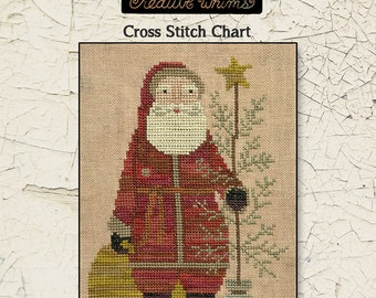 Santa | Primitive | Cross Stitch Chart | Downloadable PDF | EPattern | Needlework | DIY | Crafts | Country Santa | XS101