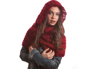 Hand Knitted RED Circled Mohair SCARF with Hood, Hooded Scarf, Infinity Scarf by Solandia, women fashion