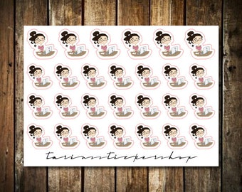 Work - Cute Brunette Girl - Functional Character Stickers