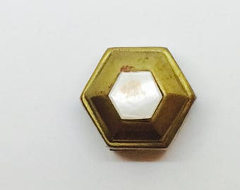 Pouch box or hexagon shaped brass  with perla muter
