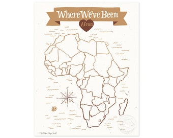 Where We've Been: Africa Map, Vintage Brown Illustrated Art Print
