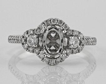 0.47ct Side Diamonds in 14K White Gold Semi Mount 3Stone Halo Ring (NO CENTER STONE)