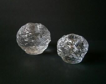 Set of 2 Kosta Boda Snowball Glass Candle Holders Large & Medium Ann Warff