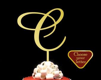 Letter C cake topper, Cake Topper Initial, Monogram Cake Topper, Cake Topper Wedding, Gold Initial Cake Topper, cake topper letter c, CT#038