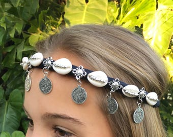 Silver Coin Kuchie Shell Crown, Headband