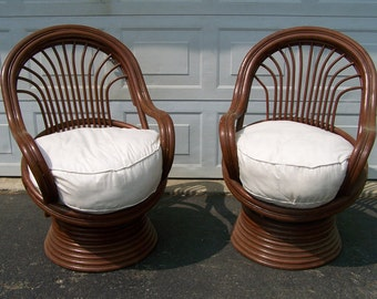 Pair Vintage Chairs, Vintage Rattan Bamboo Swivel Chairs,porch Chairs,Pod  Stick Bentwood