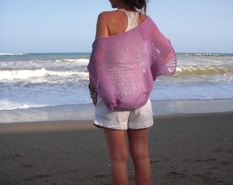 Knit shrug, lilac shrug bolero, knitted cotton bolero, ligthweithg knit, summer shrug, orchid wrap