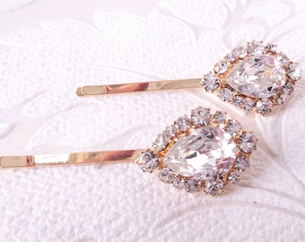 Bridal Hair Pins with Clear Swarovski Crystal on Gold Plated Bobby Pin for Vintage Art Deco Hair Style or Victorian Wedding Headpiece