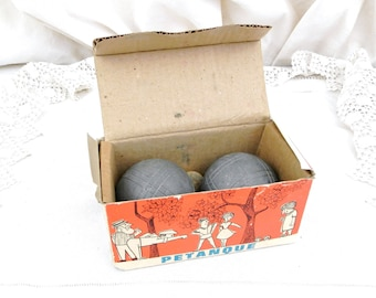2 Vintage French Mid Century Petanque Boules with the Original Box, Retro Boxed 1950s / 1960s Mediterranean Metal Game Balls from France
