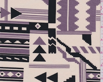Golden Beige/Lilac/Black Southwest Print Rayon Jersey Knit, Fabric By The Yard