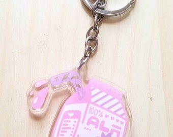 Kawaii Splatoon-style Strawberry Milk Acrylic Charm