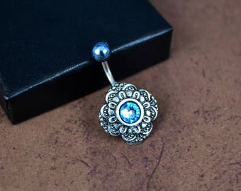 Silver Belly Button Ring Aquamarine Silver Navel Ring Short Medium Long Crystal Belly Ring 14G