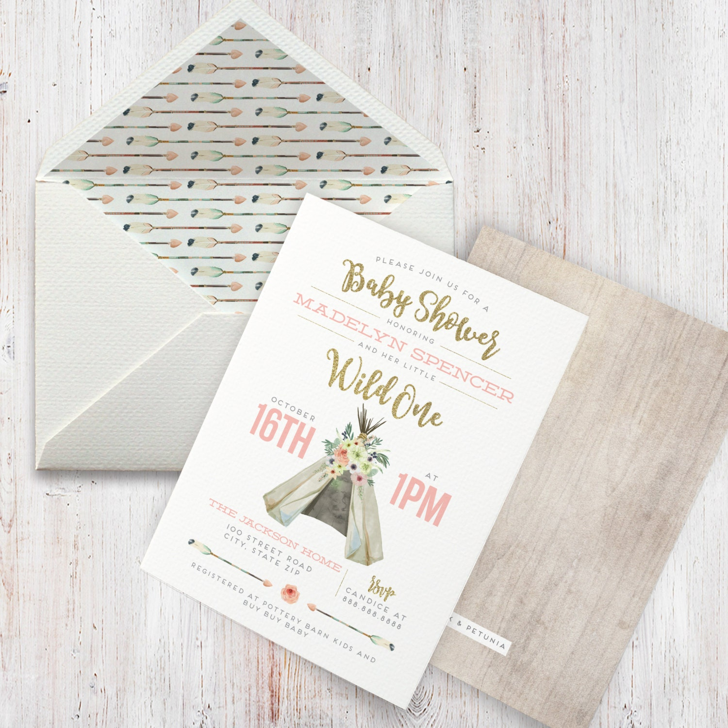 Teepee Rustic Boho Watercolor Baby Shower Invitation, Boho Chic Baby ...