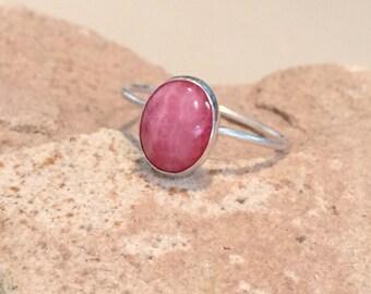 Sterling silver rhodochrosite ring, oval stone ring, oval gemstone ring, stackable sterling silver ring, sterling silver ring, gift for her