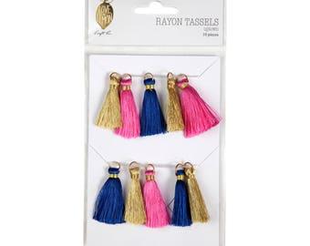 "Love+Lemon 1.5"" Rayon Tassels, Gold Ring, 10 pcs"