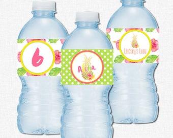 Pineapple Water Bottle Labels, Luau Party Decorations, Pineapple Bottle Wraps, Tropical Pineapple Labels