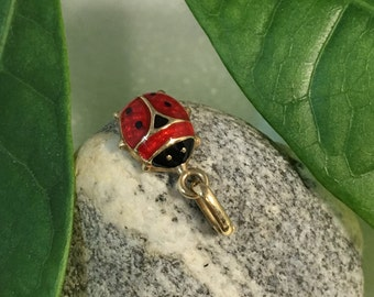 Tiny 10K LadyBug Charm with Red & Black  Enamel, Made in Italy, Lady Bug Charm
