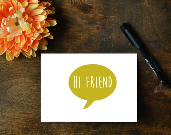 2 Hello Cards - Hi Friend and Hi There - Printable