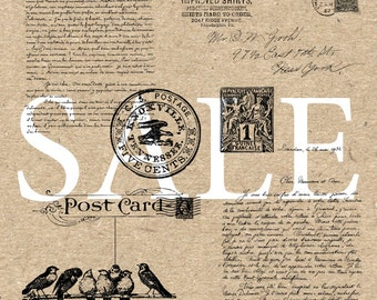 Sale Mail Postal Stamps Handwriting Script Letters Envelope Instant Download Digital printable vintage drawing clipart  graphic HQ 300dpi