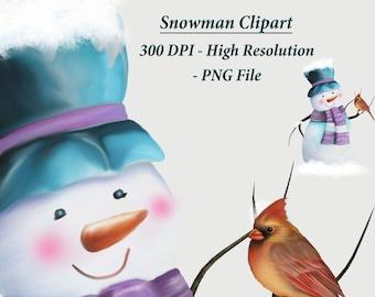 SnowMan Clipart, Snowman with Bird