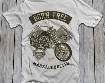 Motorcycle vintage biker old school rider t shirt