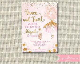 Ballerina Invitation, Ballerina Birthday, Pink and Gold Tutu Birthday Invitation, Ballerina Birthday Invitation, Ballerina Invite