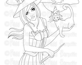 Digital Stamp - Printable Coloring Page - Fantasy Art - Witch Stamp - Adult Coloring Page - Noralie - by Nikki Burnette - PERSONAL USE