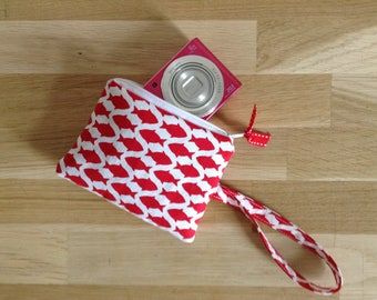 Soft and warm for camera, fish, red and white pouch