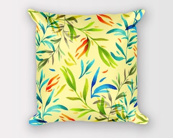 Yellow cushion cover with inner, Throw pillow cover 18x18, Yellow decor pillows, Leaf pillow cover, Botanical pillow cover