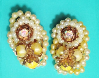 Fancy Pearl & Yellow BEADED Unsigned Vintage Clip EARRINGS