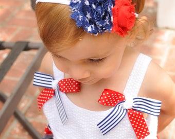 July 4th Headband, Nylon Baby Headband, Fourth of July Headband, 4th of July Outfit, Fourth Of July Baby Girl, Patriotic Headband, Girls