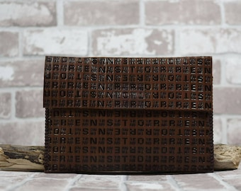 Brown Leather Clutch Bag Handmade Leather Bag Leather Accessories Leather Goods Anniversary Gift Handmade Gift Leather Case Leather Purse