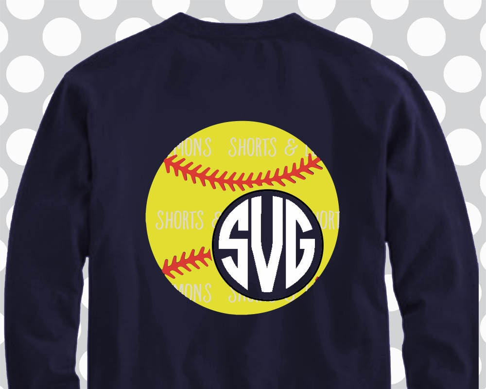 Softball monogram frame SVG, DXF, EPS, svg cutting files, softball ...