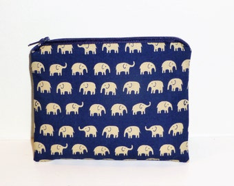 Elephant Coin Purse, Elephant Make Up Bag, Elephant Travel Purse, Elephant Purse, Elephant Coin Holder, Gifts for her, Elephant Lovers