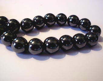 Set of 5 gunmetal 10mm hematite beads