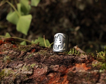 Pine Ring in sterling silver , size 5.5